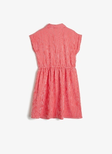 Koton Koton Çizgili Fırfırlı Elbise Kırmızı
